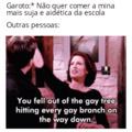 """""""Você caiu da árvore gay e acertou todos os galhos gays no caminho"""""""