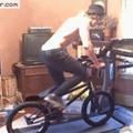 Riding a bike on a treadmill